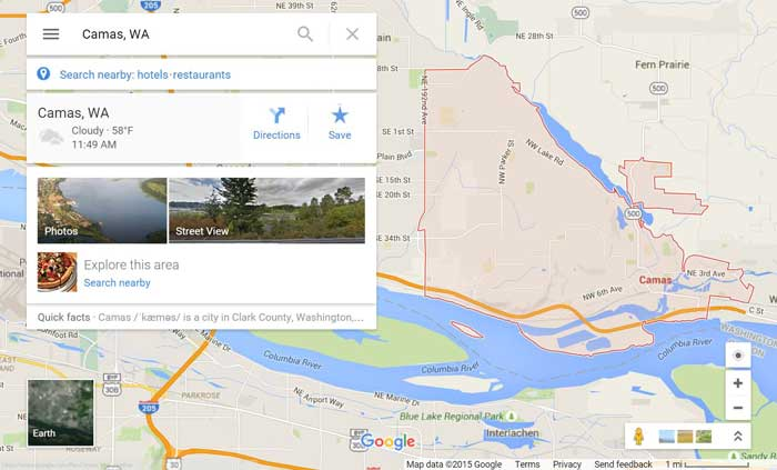 Camas WA on Google Maps