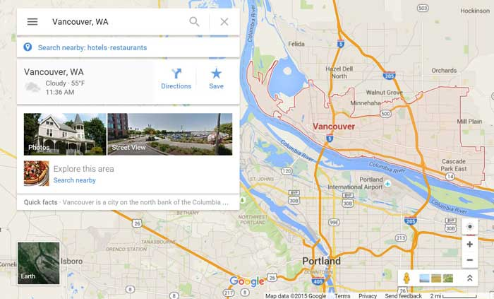Vancouver WA on Google Maps